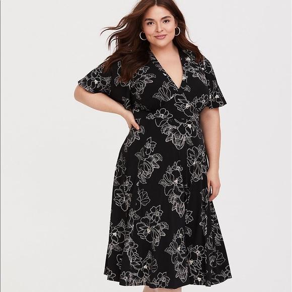 f41a818dab7 Torrid Black Floral Jersey Knit Midi Dress sz 4x